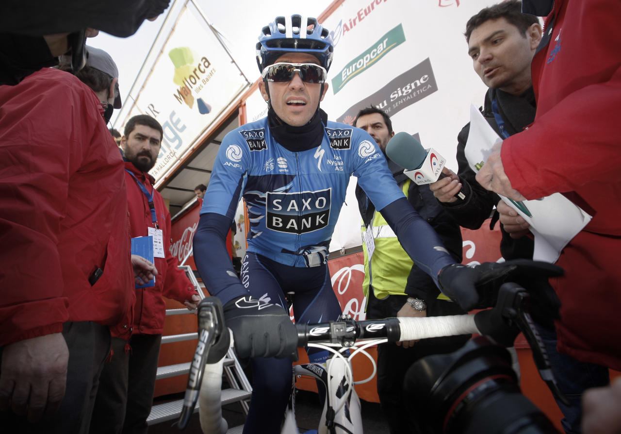 Alberto Contador is seen before the start of the first stage of the Mallorca Challenge cycling race in Palma de Mallorca, Spain, Sunday, Feb. 5, 2012. (AP Photo/Manu Mielniezuk)