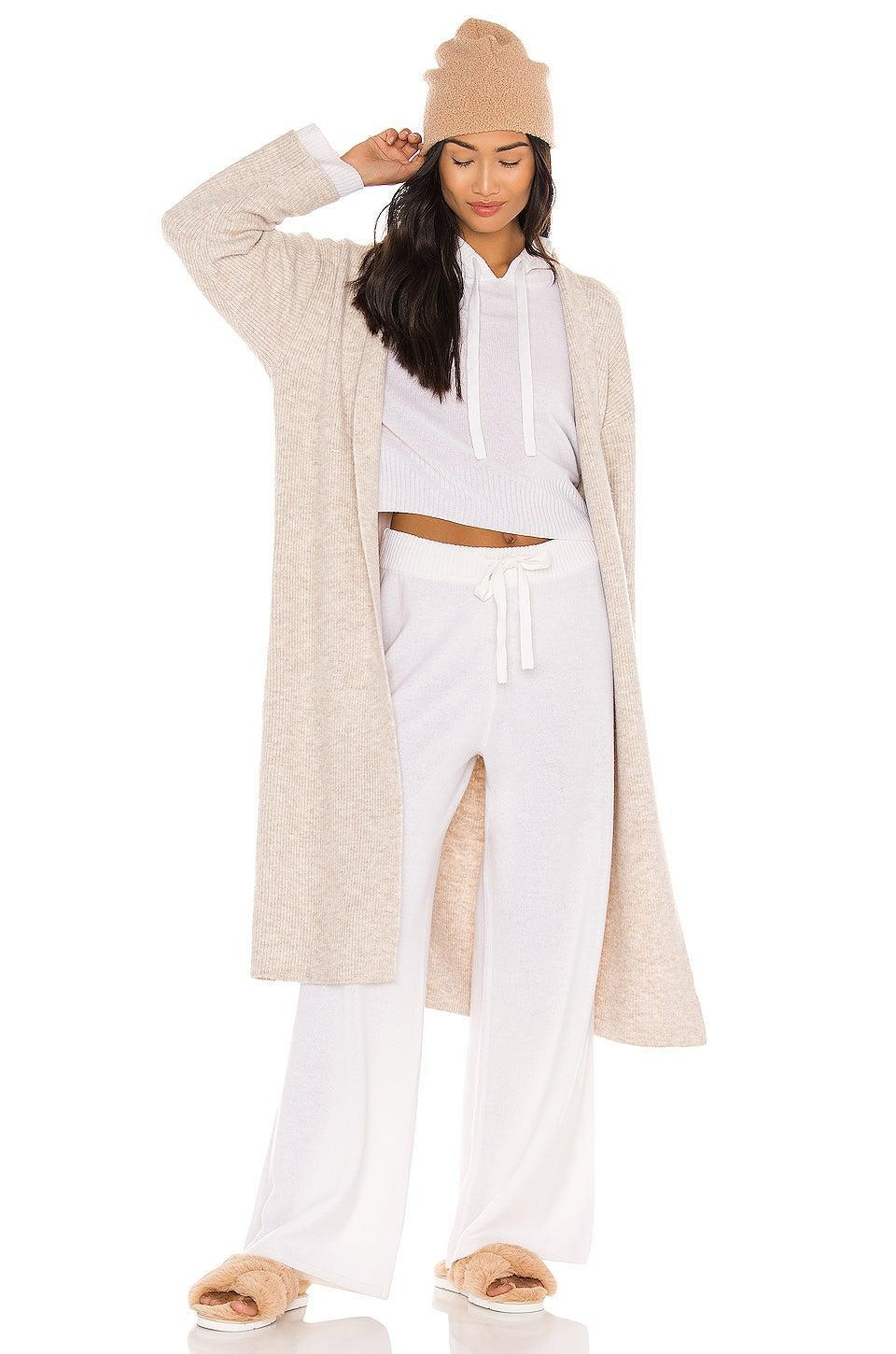 "<h2>Bella Dahl Wide Leg Cashmere Pant</h2><br>If you're looking to swoosh fabulously around your living quarters swaddled in cashmere, this snow-white, ultra-wide-legged pair of sweatpants might be just the ticket.<br><br><strong>Bella Dahl</strong> Easy Wide Leg Pant, $, available at <a href=""https://go.skimresources.com/?id=30283X879131&url=https%3A%2F%2Fwww.revolve.com%2Fbella-dahl-easy-wide-leg-pant-in-pearl-white%2Fdp%2FBLD-WP90%2F%3Fd%3DWomens%26page%3D1%26product%3DBLD-WP90%26bneEl%3Dfalse%26"" rel=""nofollow noopener"" target=""_blank"" data-ylk=""slk:Revolve"" class=""link rapid-noclick-resp"">Revolve</a>"