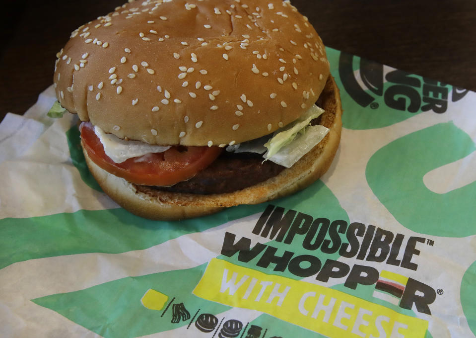 In this Wednesday, July 31, 2019 photo, an Impossible Whopper burger is photographed at a Burger King restaurant in Alameda, Calif. (AP Photo/Ben Margot)