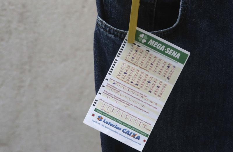 A Mega Sena lottery ticket is displayed in Sao Paulo