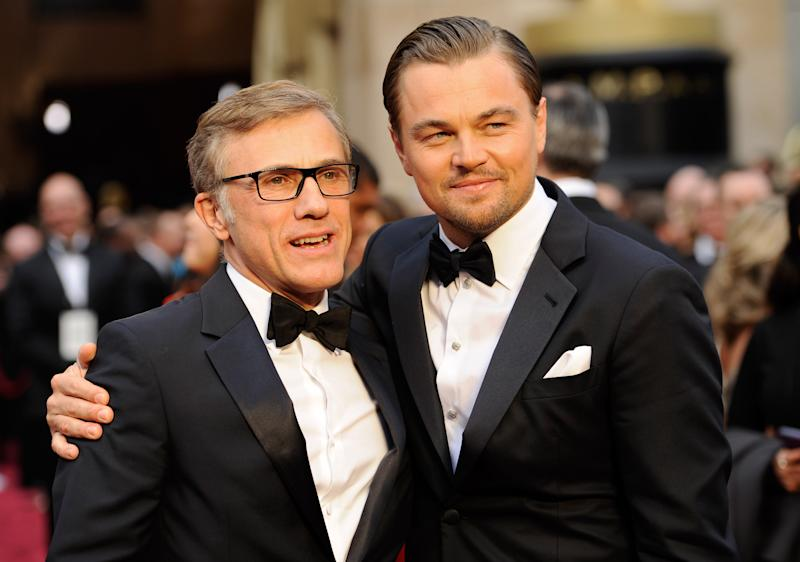 Christoph Waltz, left, and Leonardo DiCaprio pose at the Oscars on Sunday, March 2, 2014, at the Dolby Theatre in Los Angeles. (Photo by Chris Pizzello/Invision/AP)