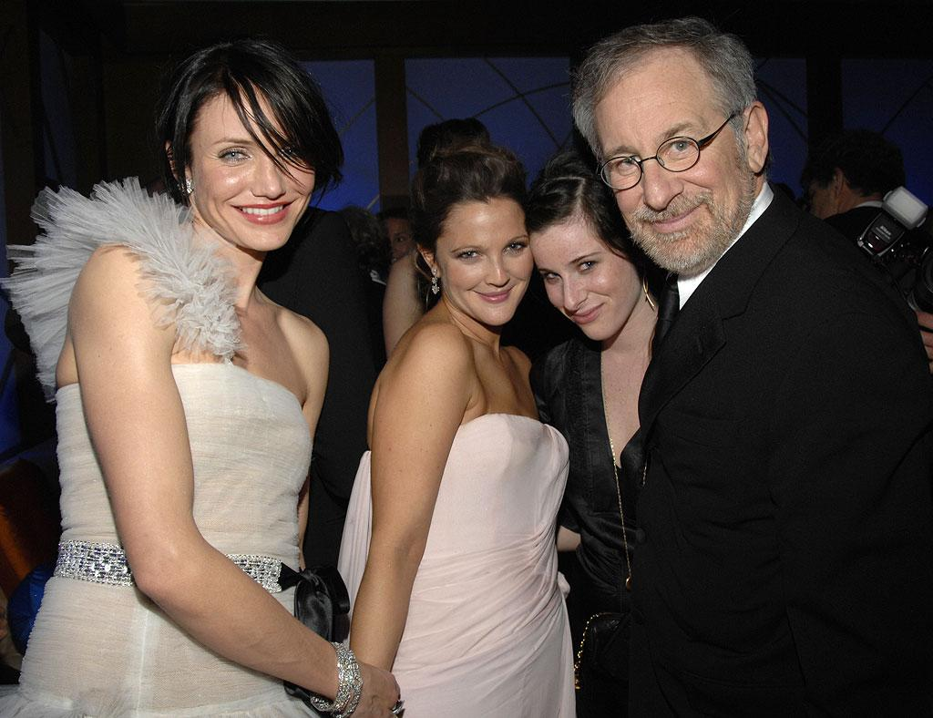 """<a href=""""/cameron-diaz/contributor/29788"""">Cameron Diaz</a>, <a href=""""/drew-barrymore/contributor/29569"""">Drew Barrymore</a>, <a href=""""/steven-spielberg/contributor/28483"""">Steven Spielberg</a>, and daughter at the In Style and Warner Bros. 2007 Golden Globe After Party."""