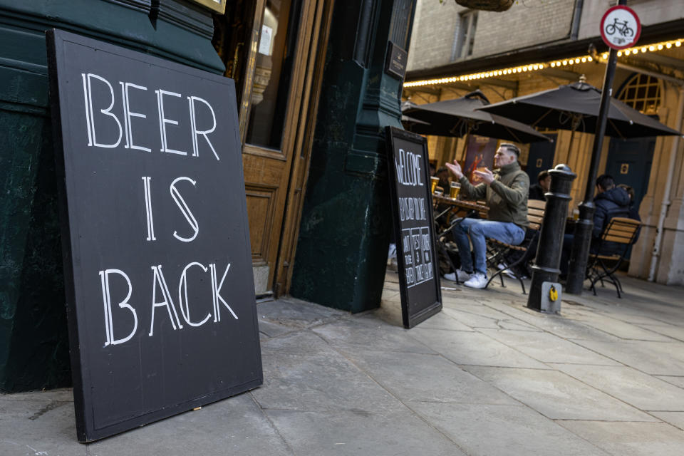 LONDON, ENGLAND - APRIL 16: A sign outside a pub near Covent Garden which reads