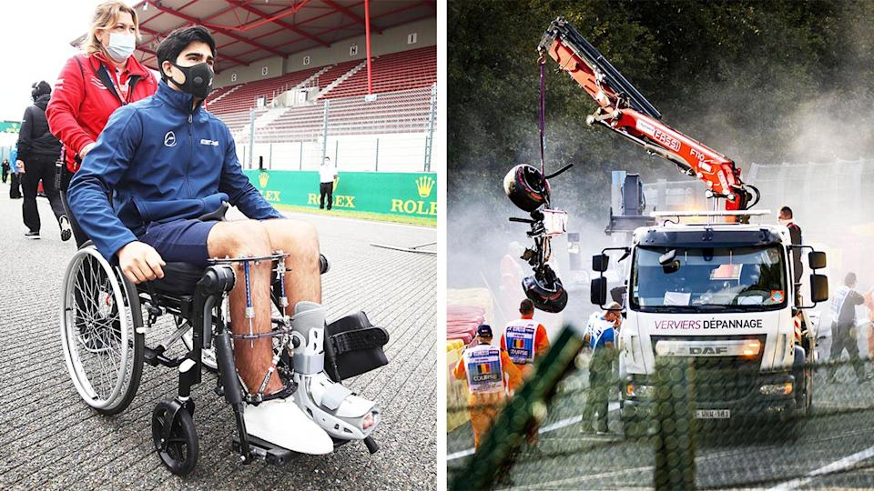 Juan Manuel Correa (pictured left) is pushed in a wheelchair in a leg brace and (picture left) a crane lifts a car after a devastating crash in 2019.