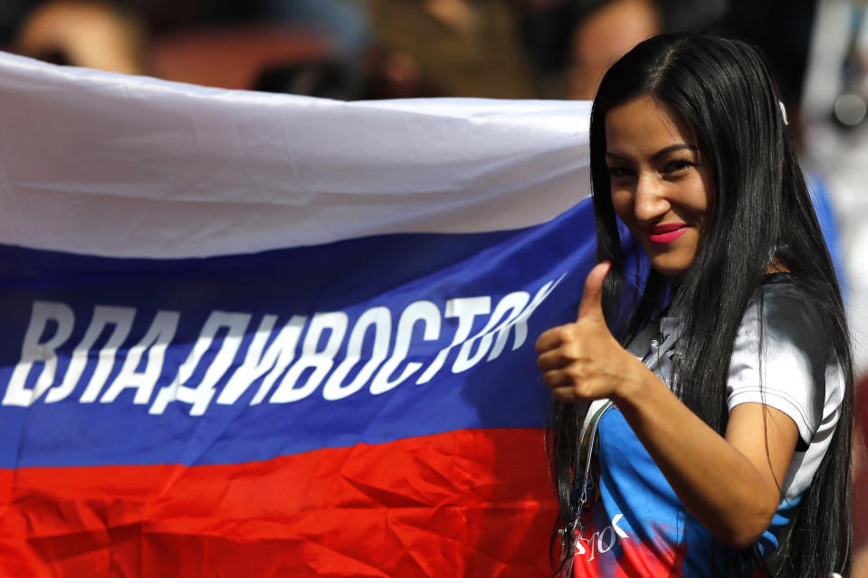 <p>A Russian fan enjoy the atmosphere prior to the 2018 FIFA World Cup Russia Group A match between Russia and Saudi Arabia at Luzhniki Stadium on June 14, 2018 in Moscow, Russia. (Photo by Kevin C. Cox/Getty Images) </p>