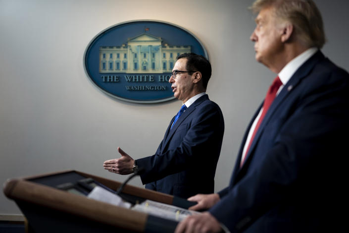 Treasury Secretary Steve Mnuchin speaks during a news conference at the White House with President Donald Trump in Washington, Aug. 10, 2020. (Doug Mills/The New York Times)