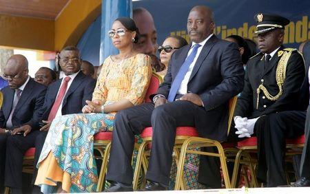 Democratic Republic of the Congo's President Joseph Kabila and First Lady Marie Olive Lembe attend the anniversary celebrations of CongoÕs independence from Belgium in Kindu