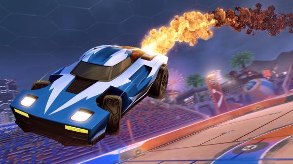 The new Golden Cosmos boost cosmetic for Legacy Rocket League players.