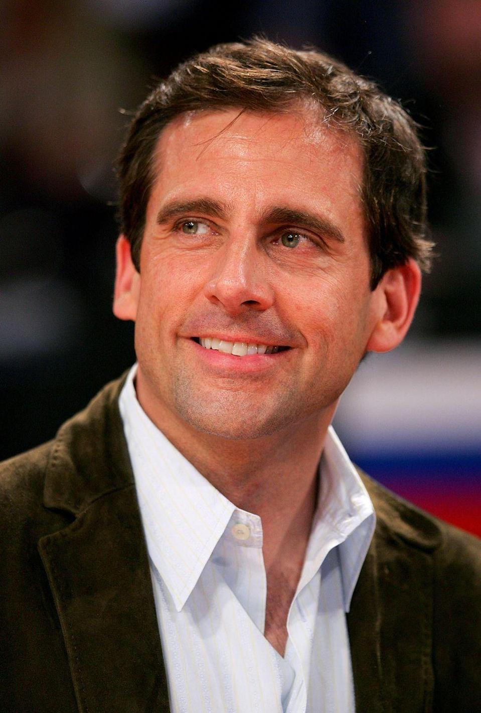 <p>If you've seen <em>The 40-Year-Old Virgin, </em>you know Carell is working with a lot of chest hair, but he typically opts for a buttoned-up look.</p>