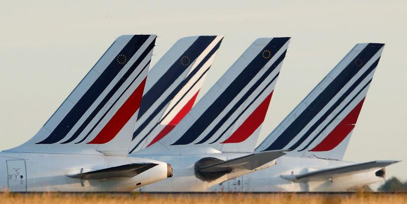 Tails of Air France airplanes are seen at the Charles-de-Gaulle airport in Roissy