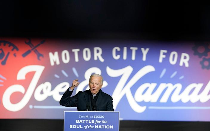 Democratic presidential candidate Joe Biden speaks at a rally at Belle Isle Casino in Detroit on Saturday