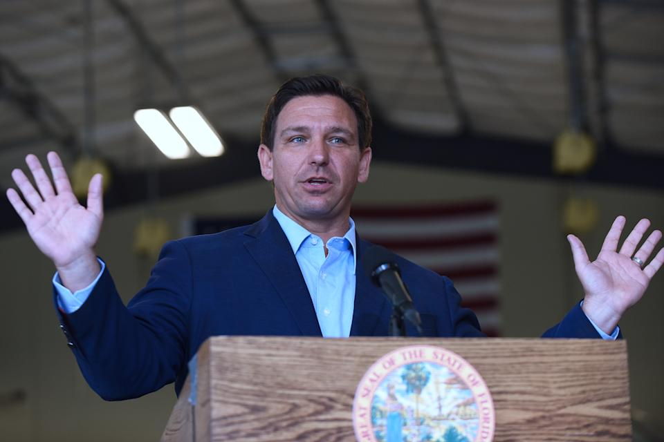 Florida Governor, Ron DeSantis speaks at a press conference at the Eau Gallie High School aviation hangar on March 22, 2021 in Melbourne, FL. (Paul Hennessy/SOPA Images/LightRocket via Getty Images)