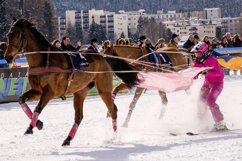 A skijoring race in St. Moritz in February 2017. (Awakening via Getty Images)
