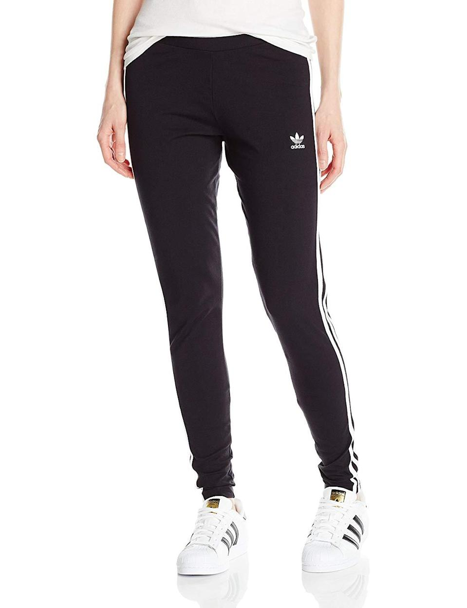 "<h3><a href=""https://www.amazon.com/adidas-Originals-Womens-3-Stripes-Leggings/dp/B072JTX8FP"" rel=""nofollow noopener"" target=""_blank"" data-ylk=""slk:Adidas 3-Stripes Leggings"" class=""link rapid-noclick-resp"">Adidas 3-Stripes Leggings</a> </h3><br><br>4.3 out of 5 stars and 3,241 reviews<br><br><strong>Promising Review:</strong> Reviewers are split between thinking they got a good deal on a pair of brand name leggings and thinking they should be receiving a higher quality item for the same reason. However, <a href=""https://www.amazon.com/gp/customer-reviews/R16NXDRDZI992H"" rel=""nofollow noopener"" target=""_blank"" data-ylk=""slk:one user"" class=""link rapid-noclick-resp"">one user</a> claims they're a good buy so long as you don't intend to do any high-impact workouts in them: ""I ordered these for a bar crawl that was 90s themed. They were perfect for that. The material is see through so that's something to take into consideration. They were pretty comfortable too. I'm not a fan of working out in leggings with this type of material though. Now I just wear them around my house with an oversized sweatshirt to lounge around in.""<br><br><strong>Adidas</strong> 3-Stripes Leggings, $, available at <a href=""https://www.amazon.com/adidas-Originals-Womens-3-Stripes-Leggings/dp/B072JTX8FP"" rel=""nofollow noopener"" target=""_blank"" data-ylk=""slk:Amazon"" class=""link rapid-noclick-resp"">Amazon</a>"