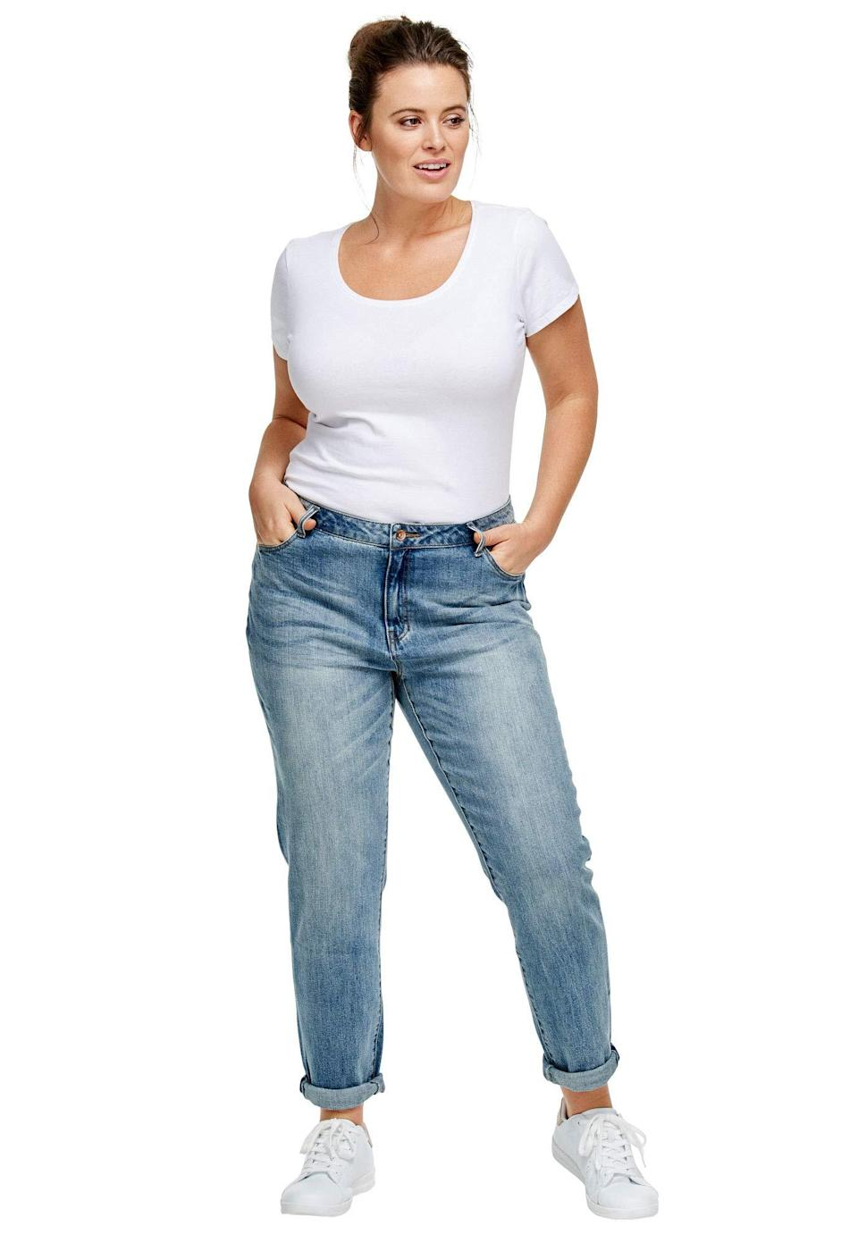 """<br><br><strong>Ellos</strong> Plus Size Boyfriend Jeans, $, available at <a href=""""https://amzn.to/3skyDm5"""" rel=""""nofollow noopener"""" target=""""_blank"""" data-ylk=""""slk:Amazon"""" class=""""link rapid-noclick-resp"""">Amazon</a>"""
