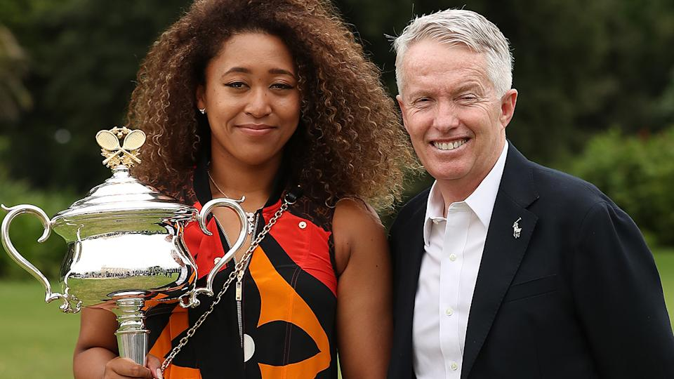 Naomi Osaka, pictured here with Craig Tiley after the 2021 Australian Open final.