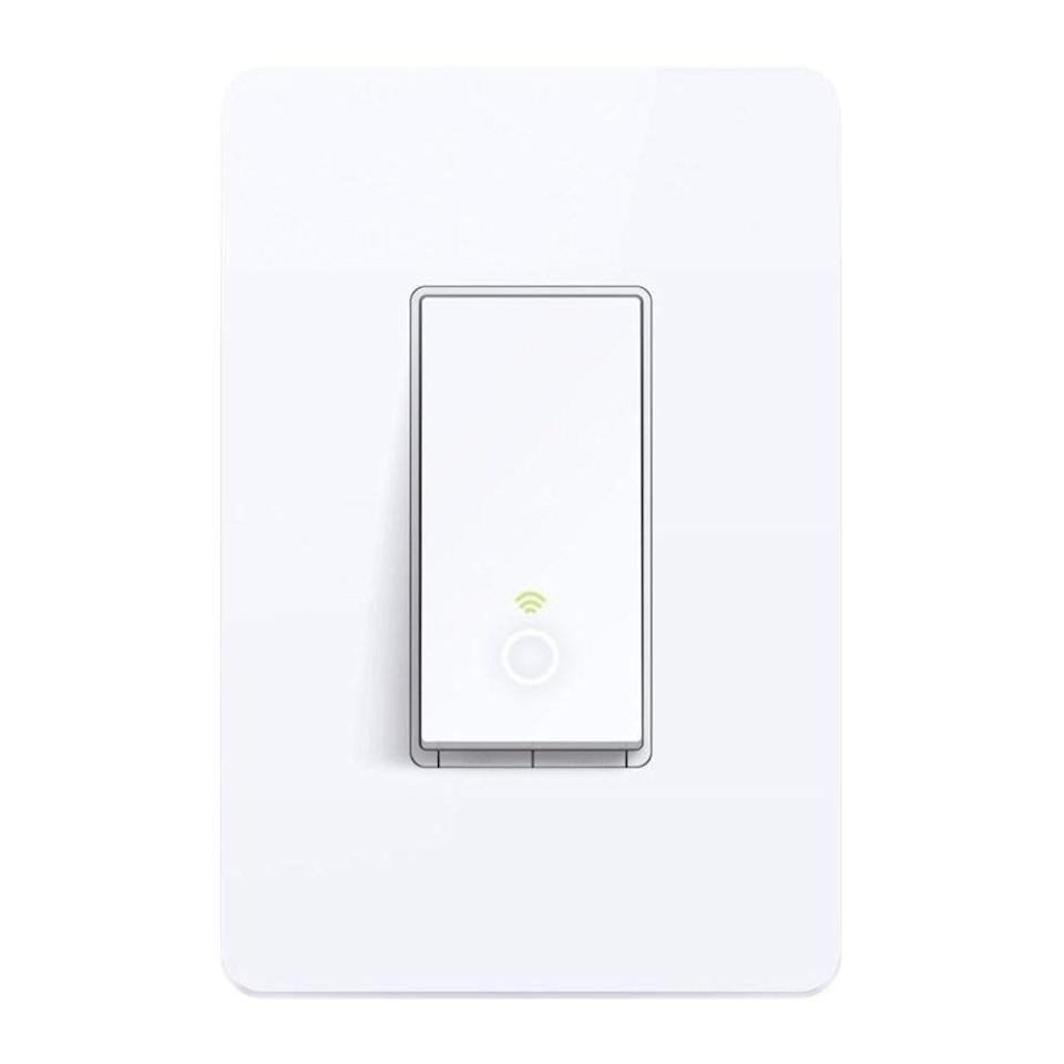 """<p><strong>TP-Link</strong></p><p>amazon.com</p><p><strong>$16.99</strong></p><p><a href=""""https://www.amazon.com/dp/B01EZV35QU?tag=syn-yahoo-20&ascsubtag=%5Bartid%7C2089.g.22594462%5Bsrc%7Cyahoo-us"""" rel=""""nofollow noopener"""" target=""""_blank"""" data-ylk=""""slk:Shop Now"""" class=""""link rapid-noclick-resp"""">Shop Now</a></p><p>If you're willing to sacrifice dimming functionality, the TP-Link Kasa is the best smart light switch for those on a budget. It's still equipped with plenty of practical features like other smart models, including timers and voice controls from Amazon Alexa or Google Home, and it can be controlled from your smartphone using an app, or with the included remote control.</p><p>Like pricier options, it has an """"Away Mode"""" that randomly turns the lights off and on to give the illusion that you're home when you're not, to deter potential thieves. All in all, it's an affordable and reliable option you'll love.</p>"""