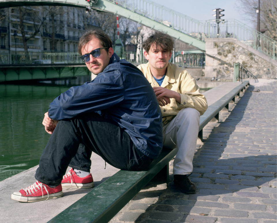 Portrait of David Rotheray and Paul Heaton of The Beautiful South photographed in the late 1980's.; (Photo by JA Barratt/Photoshot/Getty Images)