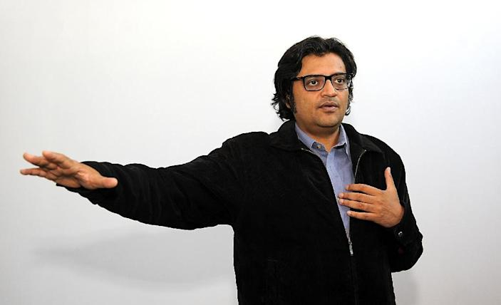 Indian TV news anchor Arnab Goswami gestures during an interview on April 26, 2017. Goswami aims to make his new Republic TV the most-watched English-language news channel in India (AFP Photo/Sujit JAISWAL)