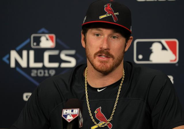 St. Louis Cardinals pitcher Miles Mikolas speaks to media on Thursday, Oct. 10, 2019, following a baseball practice session before the National League Championship Series against the Washington Nationals in St. Louis. Mikolas will start Game 1 of the NLCS against the Nationals. (Christian Gooden/St. Louis Post-Dispatch via AP)