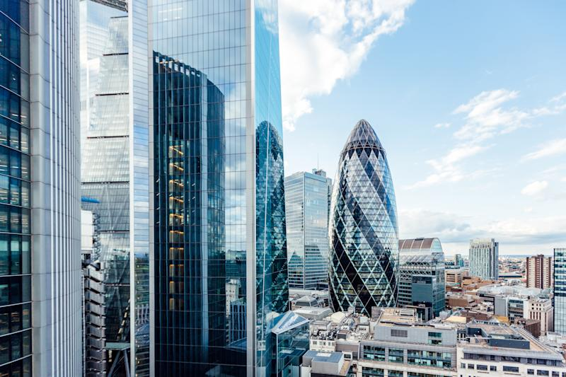 Aerial view of skyscrapers in City of London, England, UK