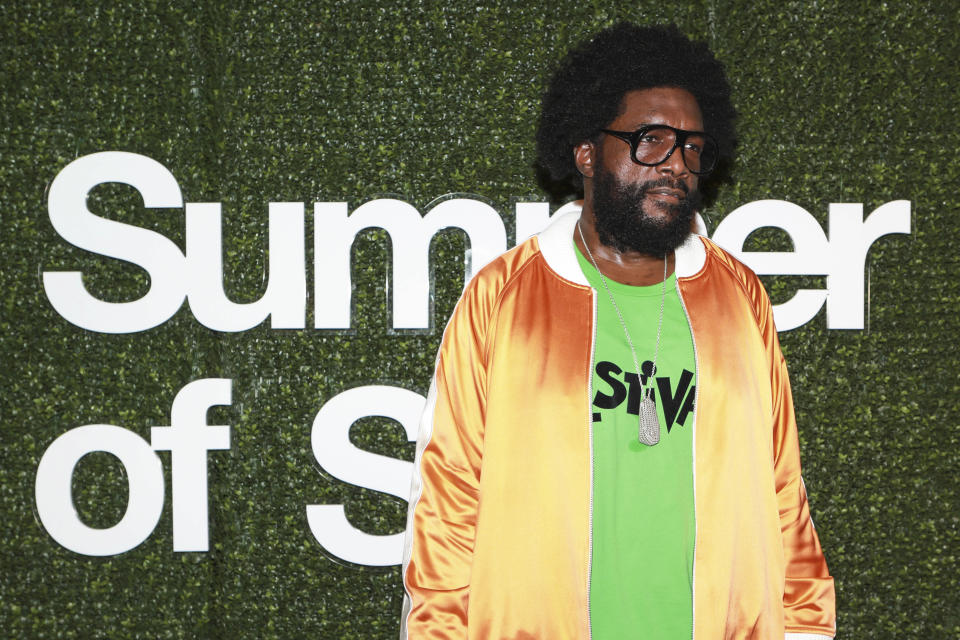 """Ahmir """"Questlove"""" Thompson attends a special screening of """"Summer of Soul"""" at The Richard Rodgers Amphitheater at Marcus Garvey Park on Saturday, June 19, 2021, in New York. (Photo by Jason Mendez/Invision/AP)"""