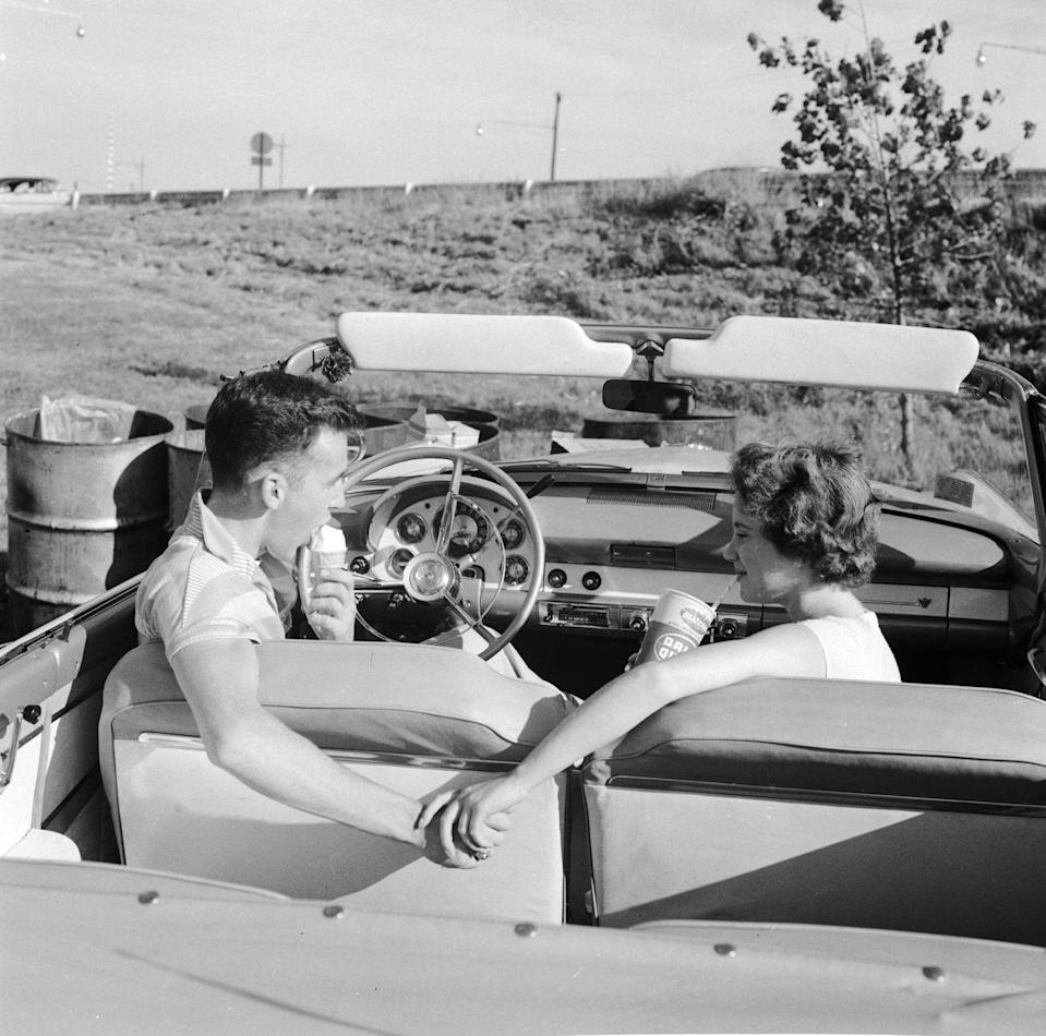 <p>Why eat your ice cream inside a parlor when you could get your cone to-go and enjoy it with your SO inside a snazzy convertible? </p>