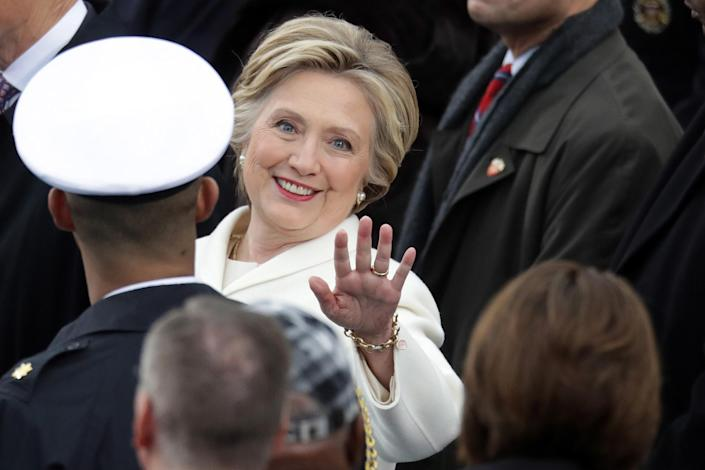 <p>Former Democratic presidential nominee Hillary Clinton arrives on the West Front of the U.S. Capitol on January 20, 2017 in Washington, DC. (Photo: Chip Somodevilla/Getty Images) </p>