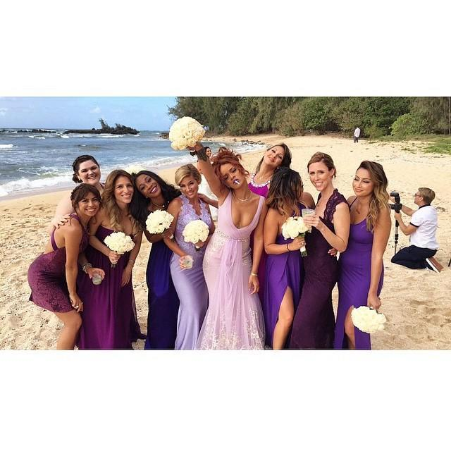 """<p>Rihanna looked like she was having the time of her life at her assistant Jennifer Morales' wedding. The star wore a stunning lilac gown with embroidery features.</p><p><a href=""""https://www.instagram.com/p/1vCRPPhM_h/"""" rel=""""nofollow noopener"""" target=""""_blank"""" data-ylk=""""slk:See the original post on Instagram"""" class=""""link rapid-noclick-resp"""">See the original post on Instagram</a></p>"""