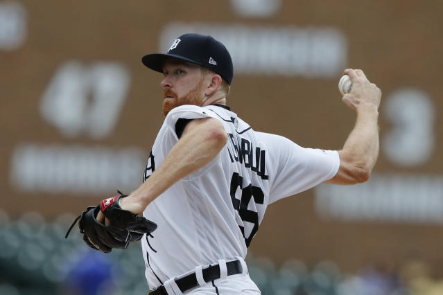 Detroit Tigers pitcher Spencer Turnbull throws during the fourth inning of a baseball game against the Seattle Mariners, Thursday, Aug. 15, 2019, in Detroit. (AP Photo/Carlos Osorio)