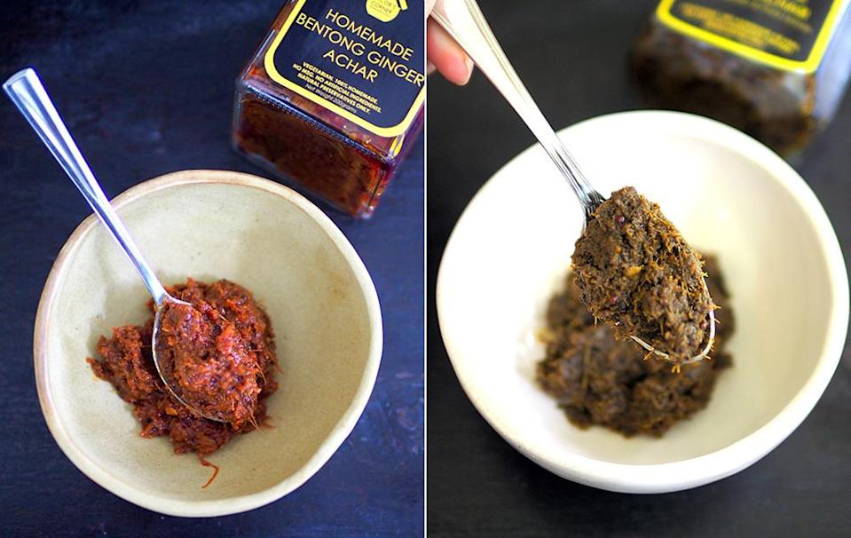 Bentong ginger achar gives a hint of ginger mixed with the spiciness from the chillies and can be used also as a marinade for chicken (left). The 3 leaf achar may not look pretty but you get a strong dose of mint and coriander that makes you want to take more spoonfuls (right).