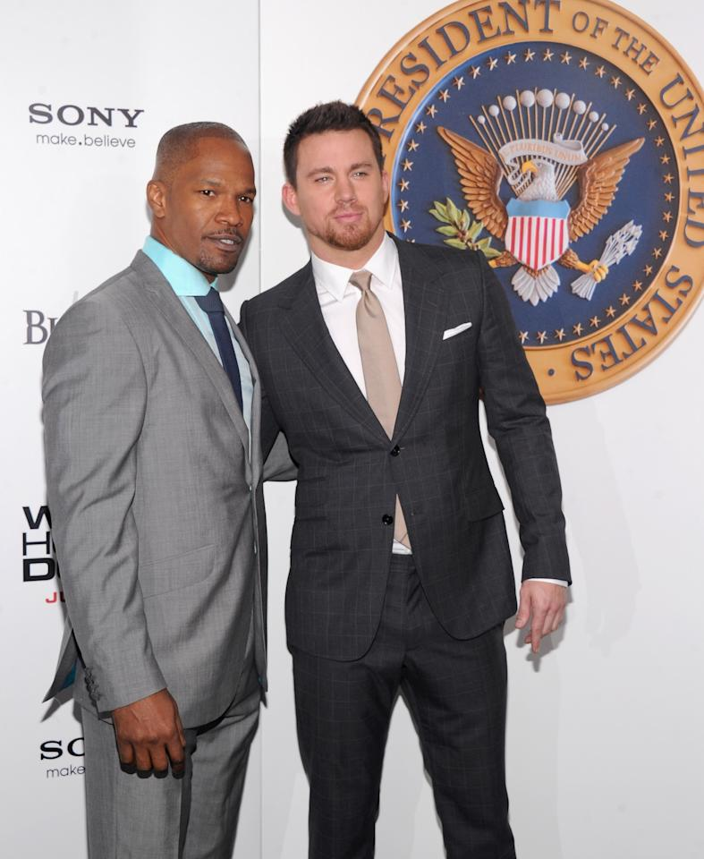 "NEW YORK, NY - JUNE 25: Actor Jamie Foxx (L) and actor Channing Tatum attend ""White House Down"" New York Premiere at Ziegfeld Theater on June 25, 2013 in New York City. (Photo by Jamie McCarthy/Getty Images)"