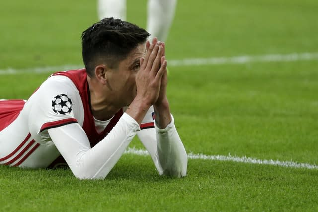 Edson Alvarez reacts after failing to score against Chelsea (Peter Dejong/AP)