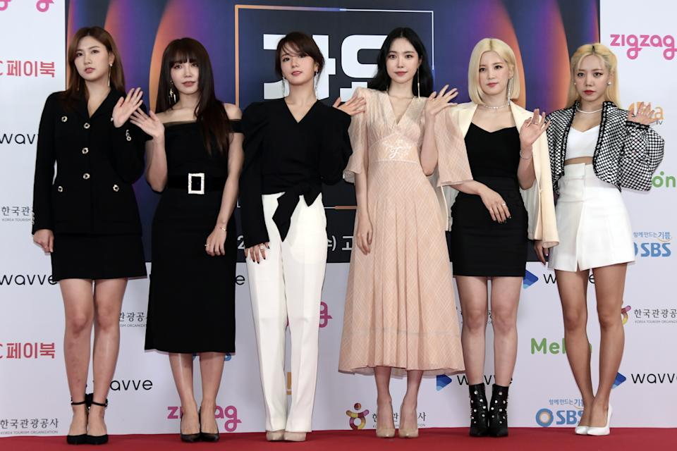 SEOUL, SOUTH KOREA - DECEMBER 25: Apink attends 2019 SBS Gayo Daejeon Photocall at Gocheok Sky Dome on December 25, 2019 in Seoul, South Korea. (Photo by THE FACT/Imazins via Getty Images)
