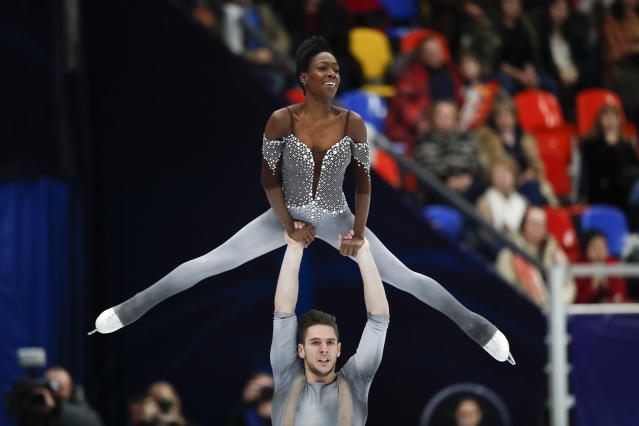 Vanessa James and Morgan Cipres of France perform during pairs free skating at the European figure skating championships in Moscow, Russia, Thursday, Jan. 18, 2018. (AP Photo/Pavel Golovkin)