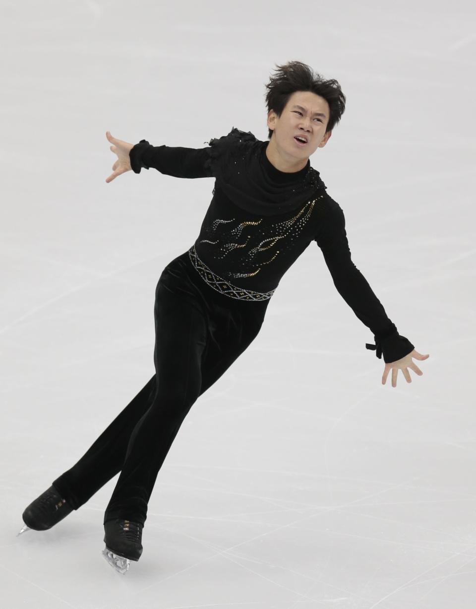 FILE - In this Oct. 21, 2017 file photo, Denis Ten, of Kazakhstan, skates his free program at the Rostelekom Cup ISU Grand Prix figure skating event in Moscow, Russia. Prosecutors in Kazakhstan said Thursday, July 19, 2018, that Olympic figure skating medalist Denis Ten has been killed, and they are treating the case as murder. (AP Photo/Ivan Sekretarev, File)