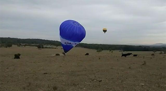 The balloon crashed in the Hunter Region injuring four people on Saturday morning. Source: 7 News
