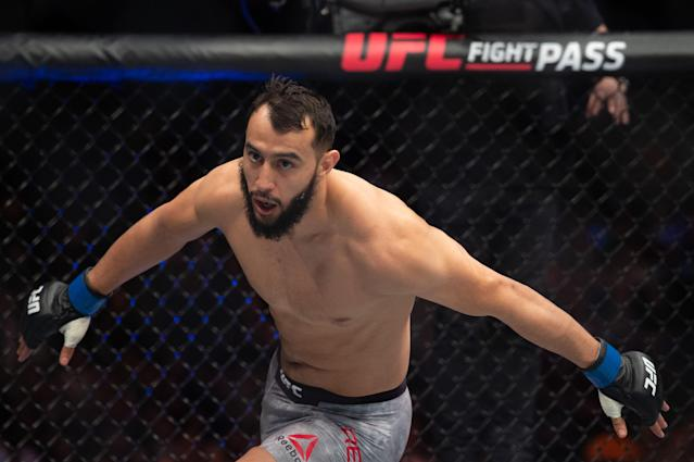 Dominick Reyes celebrates after beating Volkan Oezdemir by decision during UFC Fight Night 147 at the London O2 Arena, Greenwich on March 16, 2019. (Getty Images)