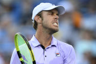 Sam Querrey, of the United States,s reacts during against Kei Nishikori, of Japan, at the Citi Open tennis tournament Monday, Aug. 2, 2021, in Washington. (AP Photo/Nick Wass)