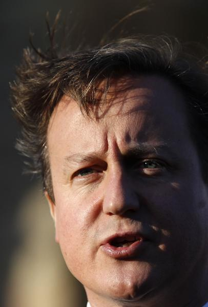 British Prime Minister David Cameron speaks during a press conference at Stormont Castle, Belfast, Northern Ireland, Tuesday, Nov. 20, 2012. The Prime Minister arrived in the province to announce that that the G8 summit will be held in Fermanagh Northern Ireland in June 2013. (AP Photo/Peter Morrison)
