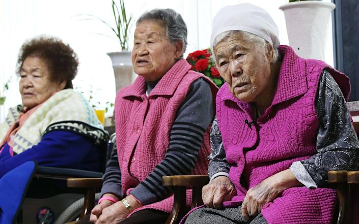 South Korean elderly women who were forced to serve as sex slaves, or so called