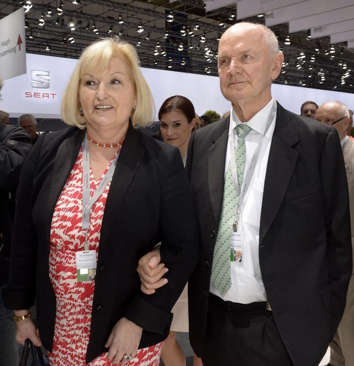 Piech, chairman of the supervisory board of German carmaker Volkswagen and his wife Ursula, member of the board of VW, arrive at the annual shareholders meeting in Hanover