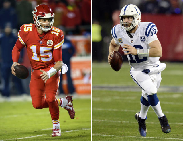 FILE - At left, in a Dec. 13, 2018, file photo, Kansas City Chiefs quarterback Patrick Mahomes (15) scrambles during an NFL football game in Kansas City, Mo. At right, in a Dec. 30, 2018, file photo, Indianapolis Colts quarterback Andrew Luck scrambles during an NFL football game in Nashville, Tenn. The Colts play the Chiefs in a divisional playoff game on Saturday, Jan. 12, 2019.(AP Photo/File)