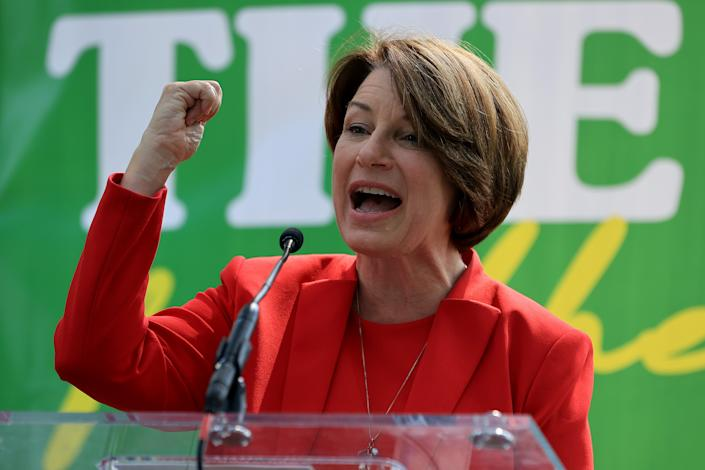 Sen. Amy Klobuchar (D-MN) addresses a 'Let's Finish the Job for the People' rally near the U.S. Capitol on September 14, 2021 in Washington, DC. (Chip Somodevilla/Getty Images)