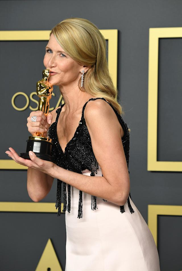 """Laura Dern, winner of the Actress in a Supporting Role award for """"Marriage Story,"""" poses in the press room during the 92nd Annual Academy Awards at Hollywood and Highland on February 09, 2020 in Hollywood, California. (Photo by Steve Granitz/WireImage )"""