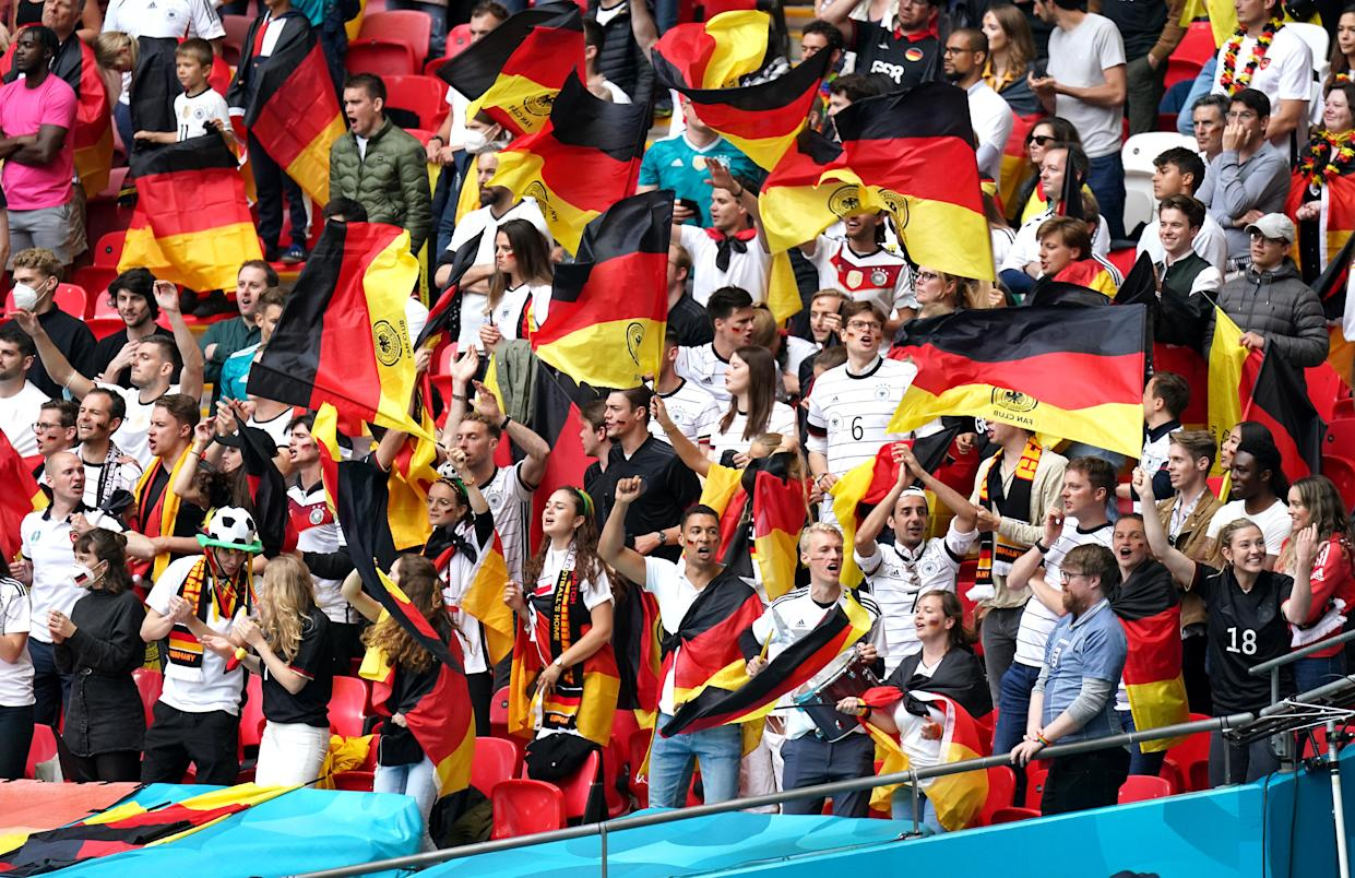 """Germany's interior minister said it was """"irresponsible"""" to allow almost 42,000 into Wembley. (PA)"""