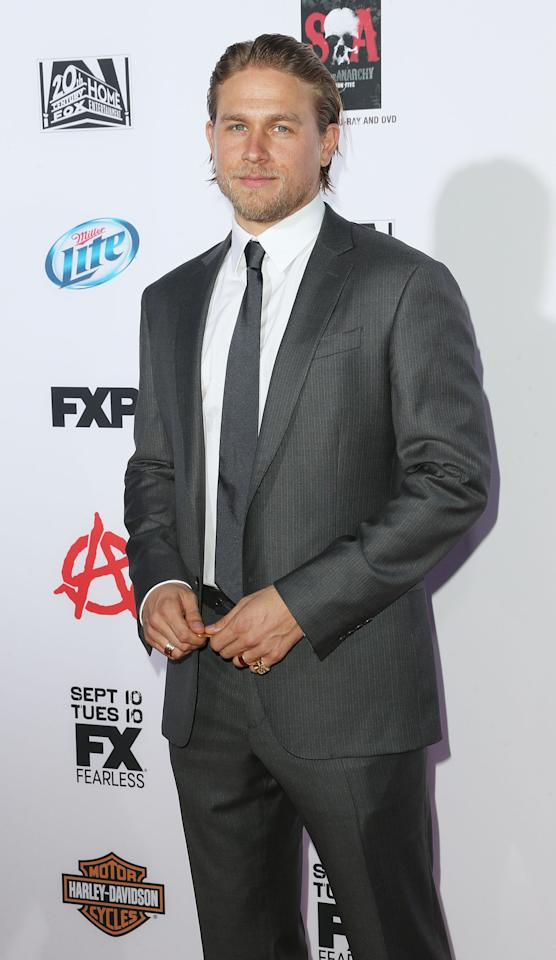 """HOLLYWOOD, CA - SEPTEMBER 07: Actor Charlie Hunnam attends the Premiere of FX's """"Sons of Anarchy"""" Season 6 at the Dolby Theatre on September 7, 2013 in Hollywood, California. (Photo by Frederick M. Brown/Getty Images)"""