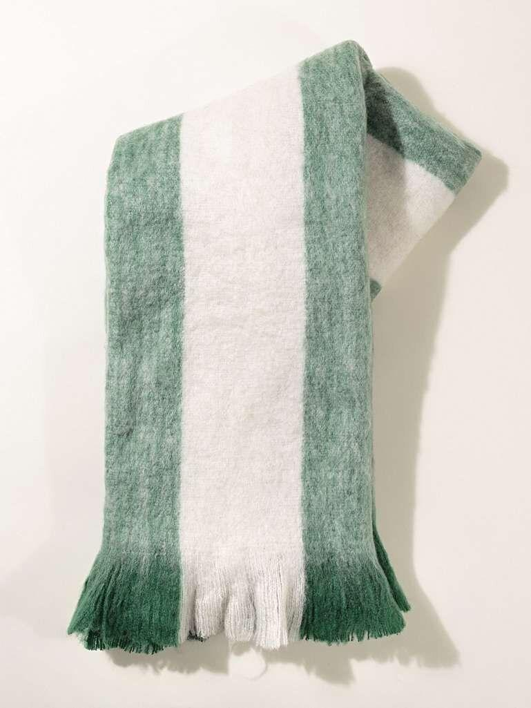 Oliver Bonas Striped Green Brushed Throw (Photo: HuffPost UK)