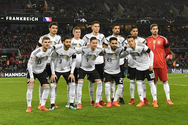 Germany will face Mexico, Sweden and South Korea in Group F at the World Cup (AFP Photo/PATRIK STOLLARZ)