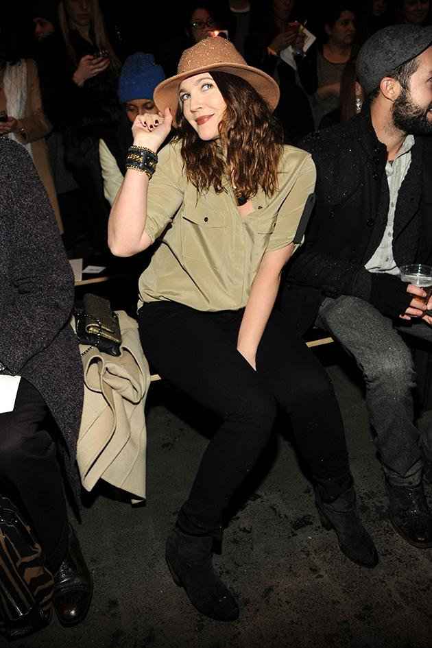 Drew Barrymore at Rag & Bone And a tip of the hat to you as well, Drew. (2/8/13)